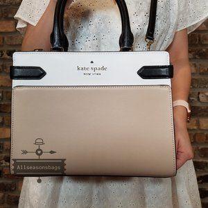 Kate Spade Staci MEDIUM Satchel Warm BEIGE BAG